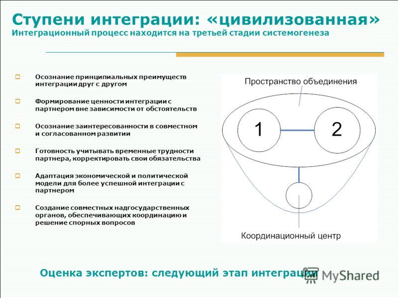 Ступени интеграции: «цивилизованная» Интеграционный процесс находится на третьей стадии системогенеза Осознание принципиальных преимуществ интеграции друг с другом Формирование ценности интеграции с партнером вне зависимости от обстоятельств Осознани