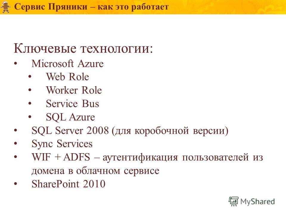 Ключевые технологии: Microsoft Azure Web Role Worker Role Service Bus SQL Azure SQL Server 2008 (для коробочной версии) Sync Services WIF + ADFS – аутентификация пользователей из домена в облачном сервисе SharePoint 2010