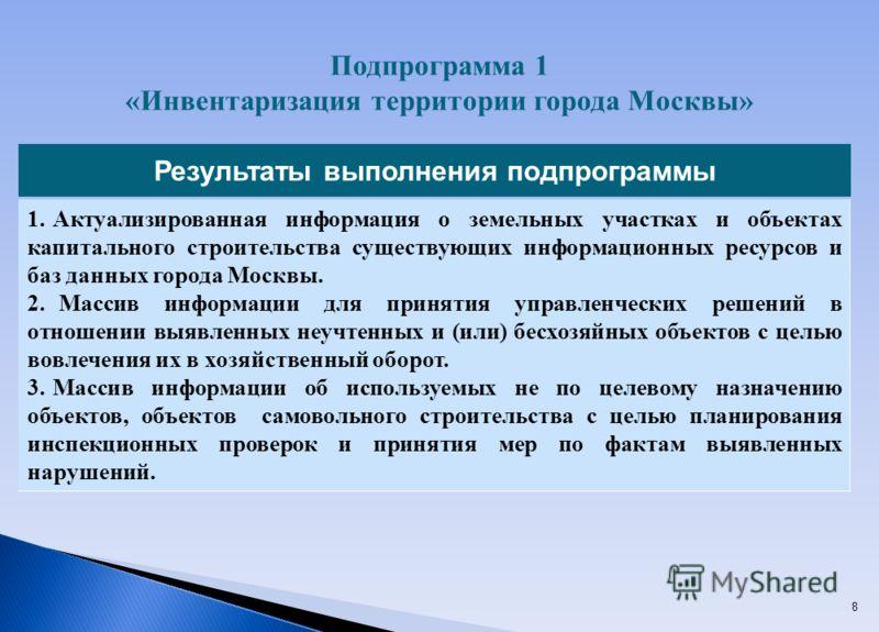 8 Результаты выполнения подпрограммы Актуализированная информация о земельных участках и объектах капитального строительства существующих информационных ресурсов и баз данных города Москвы. Массив информации для принятия управленческих решений в отно