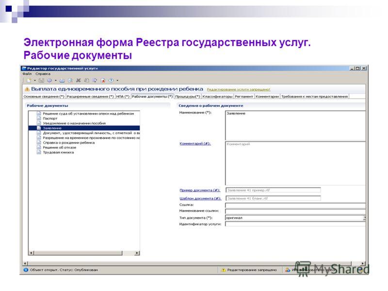Электронная форма Реестра государственных услуг. Рабочие документы