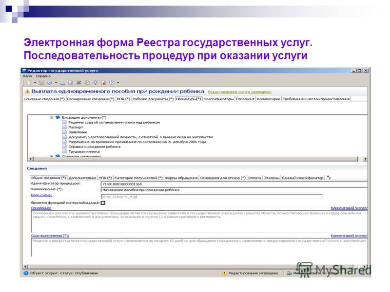 Электронная форма Реестра государственных услуг. Последовательность процедур при оказании услуги