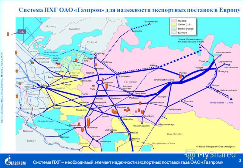 . 8й Российский Нефтегазовый Конгресс, Москва, 24 июня 2010 г. Система ПХГ – необходимый элемент надежности экспортных поставок газа ОАО «Газпром» 3 Система ПХГ ОАО «Газпром» для надежности экспортных поставок в Европу UK