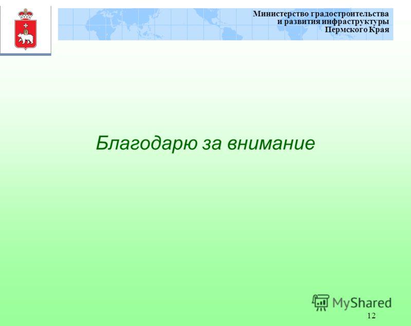 12 Министерство градостроительства и развития инфраструктуры Пермского Края Благодарю за внимание