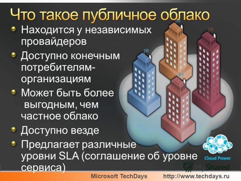 Microsoft TechDayshttp://www.techdays.ru Находится у независимых провайдеров Доступно конечным потребителям- организациям Может быть более выгодным, чем частное облако Доступно везде Предлагает различные уровни SLA (соглашение об уровне сервиса)
