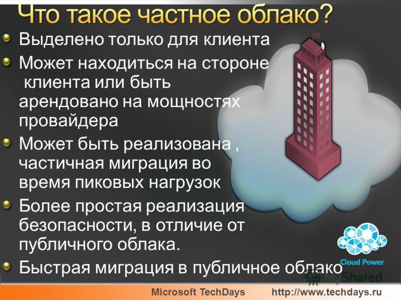 Microsoft TechDayshttp://www.techdays.ru Выделено только для клиента Может находиться на стороне клиента или быть арендовано на мощностях провайдера Может быть реализована, частичная миграция во время пиковых нагрузок Более простая реализация безопас