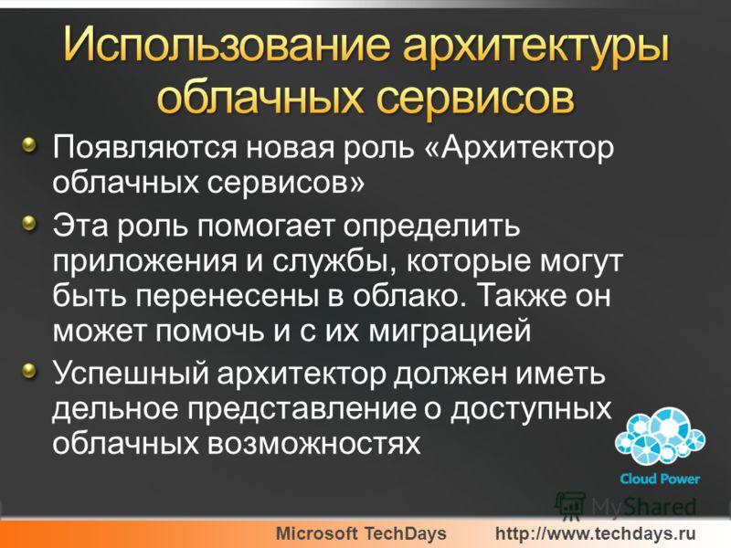 Microsoft TechDayshttp://www.techdays.ru Появляются новая роль «Архитектор облачных сервисов» Эта роль помогает определить приложения и службы, которые могут быть перенесены в облако. Также он может помочь и с их миграцией Успешный архитектор должен