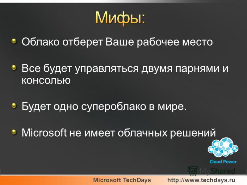 Облако отберет Ваше рабочее место Все будет управляться двумя парнями и консолью Будет одно супероблако в мире. Microsoft не имеет облачных решений