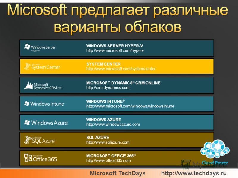 Microsoft TechDayshttp://www.techdays.ru MICROSOFT OFFICE 365 ® http://www.office365.com MICROSOFT OFFICE 365 ® http://www.office365.com MICROSOFT DYNAMICS ® CRM ONLINE http://crm.dynamics.com MICROSOFT DYNAMICS ® CRM ONLINE http://crm.dynamics.com W