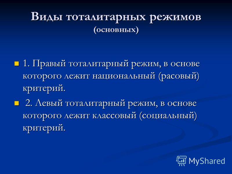 Виды тоталитарных режимов (основных) 1. Правый тоталитарный режим, в основе которого лежит национальный (расовый) критерий. 1. Правый тоталитарный режим, в основе которого лежит национальный (расовый) критерий. 2. Левый тоталитарный режим, в основе к