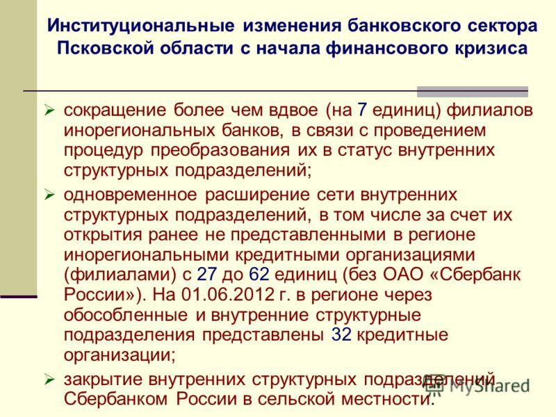 Институциональные изменения банковского сектора Псковской области с начала финансового кризиса сокращение более чем вдвое (на 7 единиц) филиалов инорегиональных банков, в связи с проведением процедур преобразования их в статус внутренних структурных