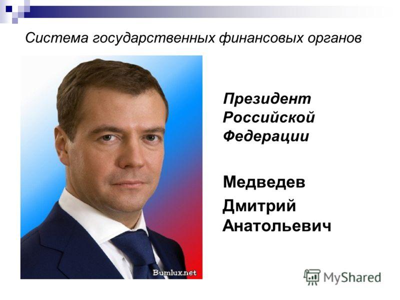 Система государственных финансовых органов Президент Российской Федерации Медведев Дмитрий Анатольевич