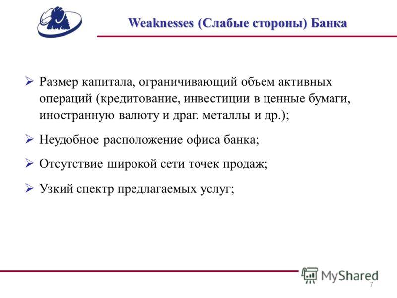 7 Weaknesses (Слабые стороны) Банка Размер капитала, ограничивающий объем активных операций (кредитование, инвестиции в ценные бумаги, иностранную валюту и драг. металлы и др.); Неудобное расположение офиса банка; Отсутствие широкой сети точек продаж