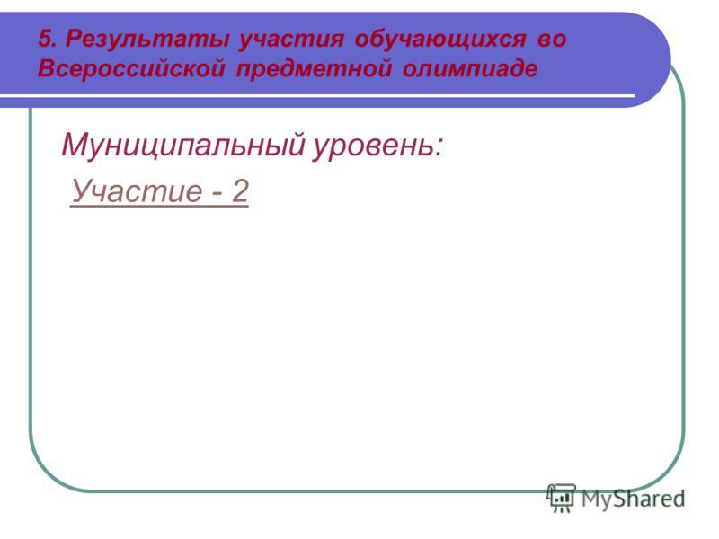 5. Результаты участия обучающихся во Всероссийской предметной олимпиаде Муниципальный уровень: Участие - 2