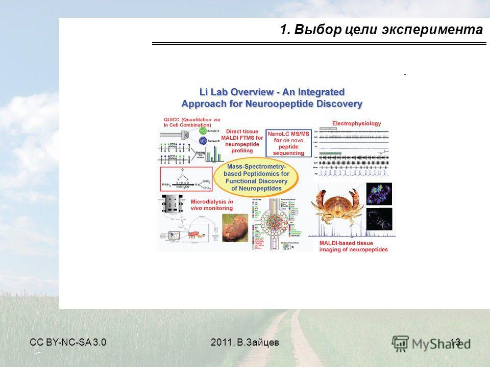 CC BY-NC-SA 3.02011, В.Зайцев13 1. Выбор цели эксперимента