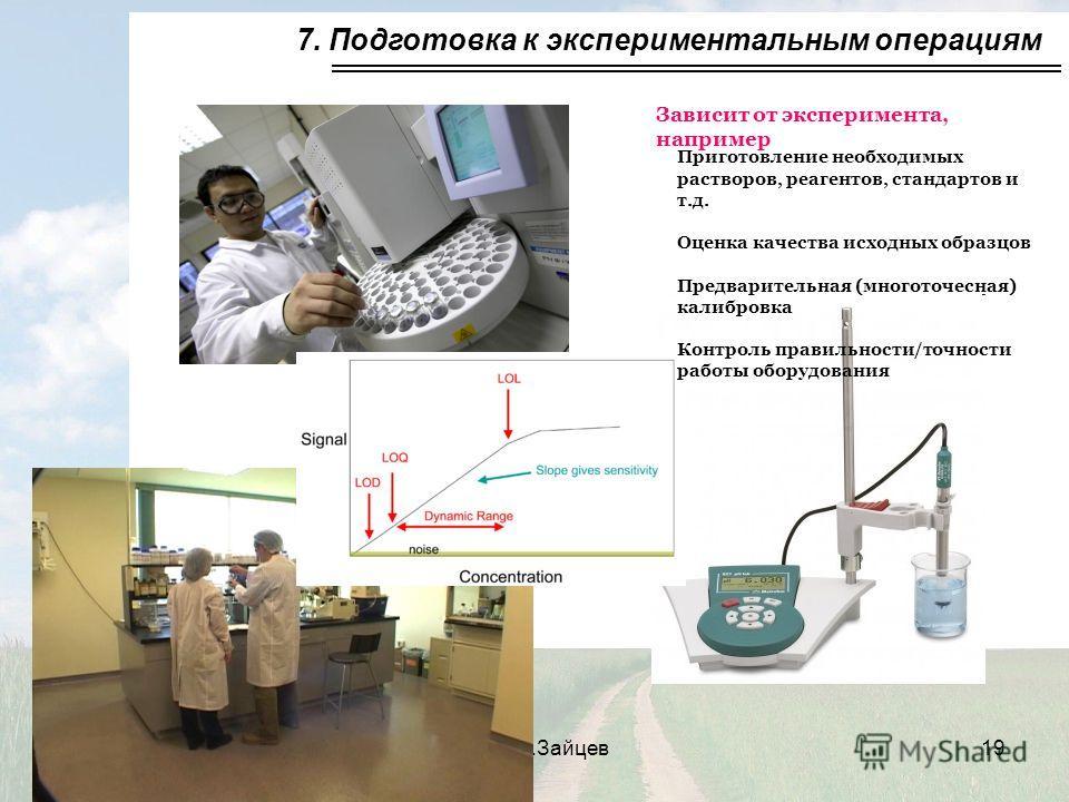 CC BY-NC-SA 3.02011, В.Зайцев19 7. Подготовка к экспериментальным операциям Зависит от эксперимента, например Приготовление необходимых растворов, реагентов, стандартов и т.д. Оценка качества исходных образцов Предварительная (многоточесная) калибров