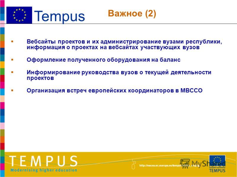http://eacea.ec.europa.eu/tempus/index_en.php Использование потенциала Национальной команды ЭРВО Содействие в распространении передового опыта Мероприятия в рамках проектов в более широком контексте (CV приезжающих экспертов и семинары по итогам учеб