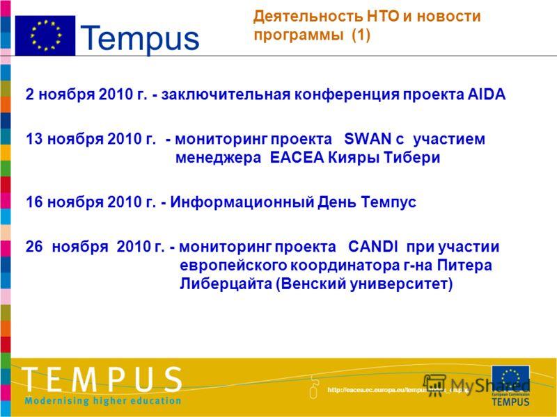 http://eacea.ec.europa.eu/tempus/index_en.php 15 октября 2010 г. - объявление 4-го конкурса Темпус IV 27-28 октября 2010 г. - мониторинг проекта HEICA в ТУИТ и БухТИПЛП при участии представителя Дрезденского университета г-на Марко Гуния 28 октября 2