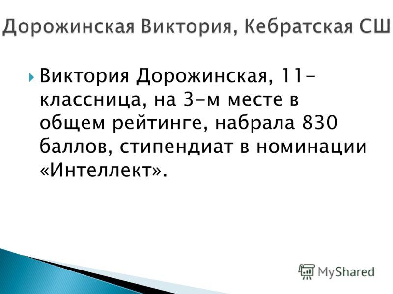 Виктория Дорожинская, 11- классница, на 3-м месте в общем рейтинге, набрала 830 баллов, стипендиат в номинации «Интеллект».