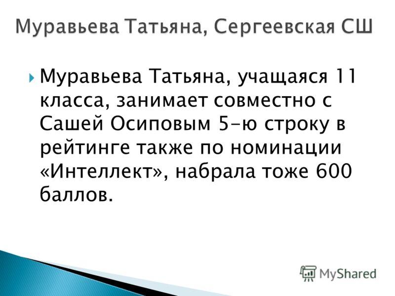 Муравьева Татьяна, учащаяся 11 класса, занимает совместно с Сашей Осиповым 5-ю строку в рейтинге также по номинации «Интеллект», набрала тоже 600 баллов.