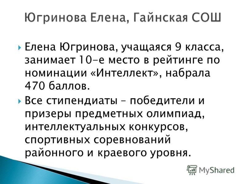 Елена Югринова, учащаяся 9 класса, занимает 10-е место в рейтинге по номинации «Интеллект», набрала 470 баллов. Все стипендиаты – победители и призеры предметных олимпиад, интеллектуальных конкурсов, спортивных соревнований районного и краевого уровн