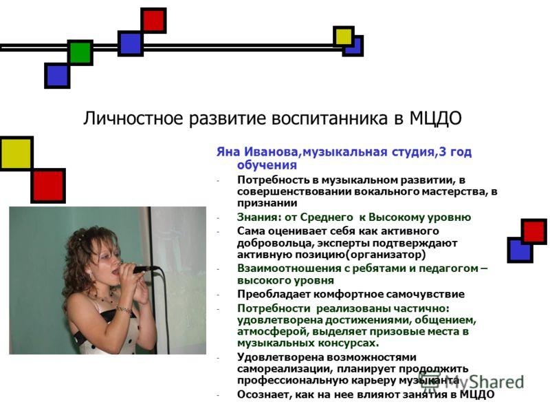 Личностное развитие воспитанника в МЦДО Яна Иванова,музыкальная студия,3 год обучения - Потребность в музыкальном развитии, в совершенствовании вокального мастерства, в признании - Знания: от Среднего к Высокому уровню - Сама оценивает себя как актив