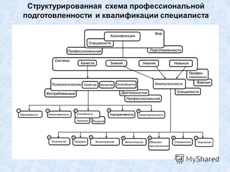 Структурированная схема профессиональной подготовленности и квалификации специалиста