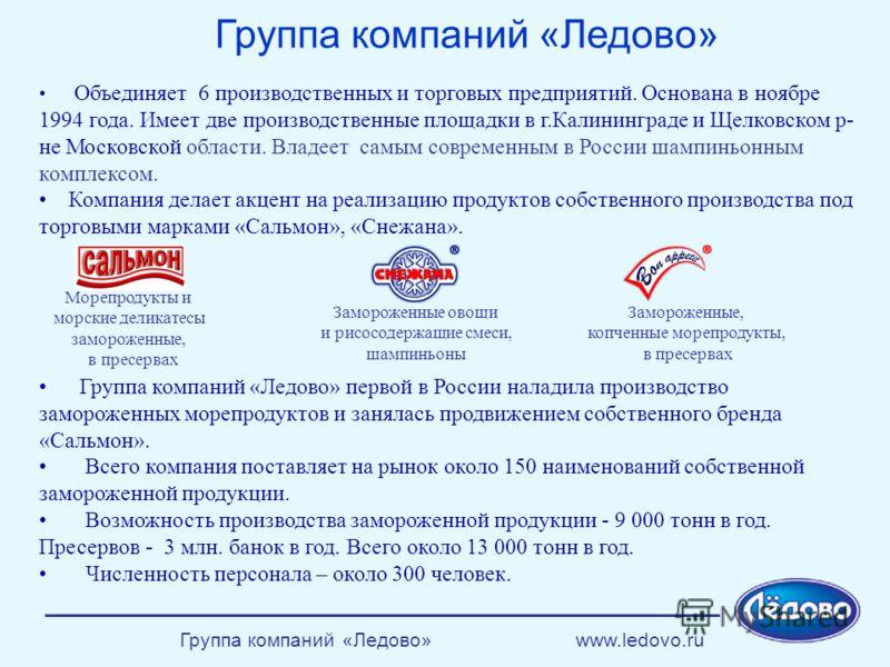 Группа компаний «Ледово» www.ledovo.ru Группа компаний «Ледово» Объединяет 6 производственных и торговых предприятий. Основана в ноябре 1994 года. Имеет две производственные площадки в г.Калининграде и Щелковском р- не Московской области. Владеет сам