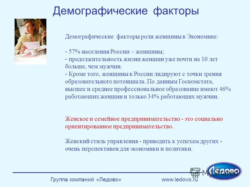 Группа компаний «Ледово» www.ledovo.ru Демографические факторы роли женщины в Экономике: - 57% населения России – женщины; - продолжительность жизни женщин уже почти на 10 лет больше, чем мужчин. - Кроме того, женщины в России лидируют с точки зрения