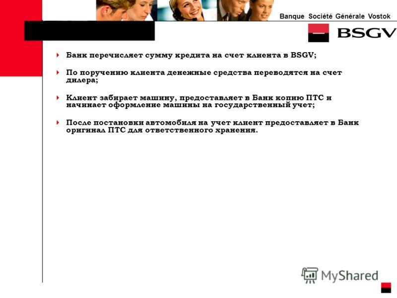 Banque Société Générale Vostok Банк перечисляет сумму кредита на счет клиента в BSGV; По поручению клиента денежные средства переводятся на счет дилера; Клиент забирает машину, предоставляет в Банк копию ПТС и начинает оформление машины на государств