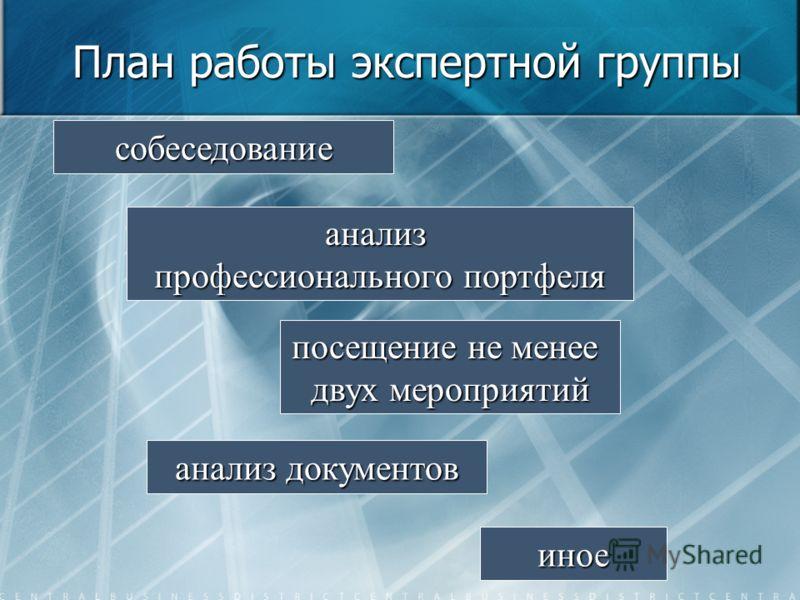План работы экспертной группы собеседование анализ профессионального портфеля посещение не менее двух мероприятий анализ документов иное