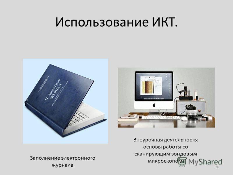 Использование ИКТ. 20 Заполнение электронного журнала Внеурочная деятельность: основы работы со сканирующим зондовым микроскопом.