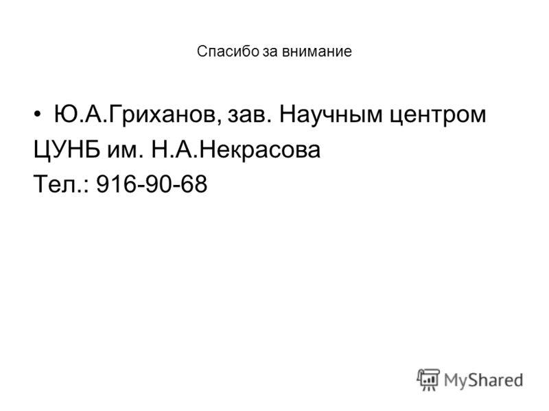 Спасибо за внимание Ю.А.Гриханов, зав. Научным центром ЦУНБ им. Н.А.Некрасова Тел.: 916-90-68