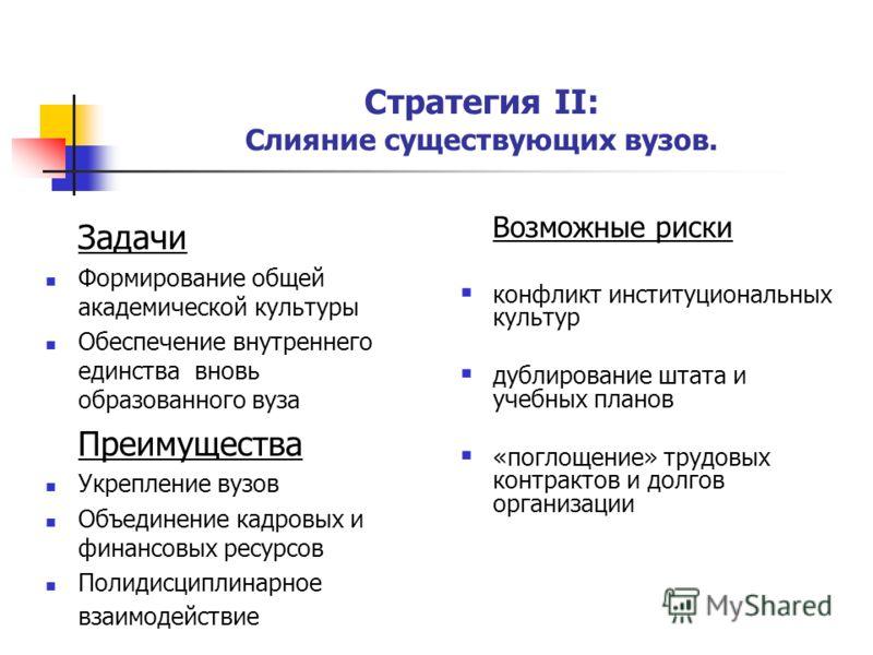 Стратегия II: Слияние существующих вузов. Задачи Формирование общей академической культуры Обеспечение внутреннего единства вновь образованного вуза Преимущества Укрепление вузов Объединение кадровых и финансовых ресурсов Полидисциплинарное взаимодей