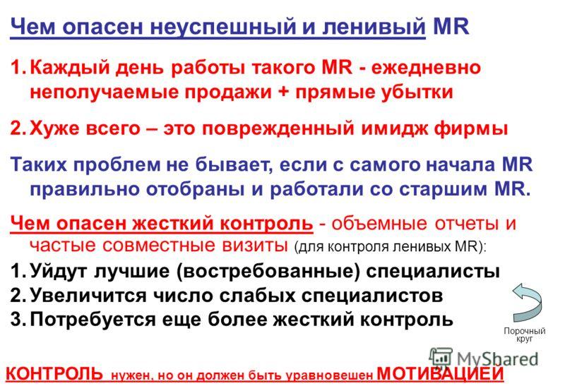 Чем опасен неуспешный и ленивый MR 1.Каждый день работы такого MR - ежедневно неполучаемые продажи + прямые убытки 2.Хуже всего – это поврежденный имидж фирмы Таких проблем не бывает, если с самого начала MR правильно отобраны и работали со старшим M
