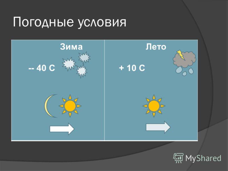 Погодные условия Зима -- 40 С Лето + 10 С