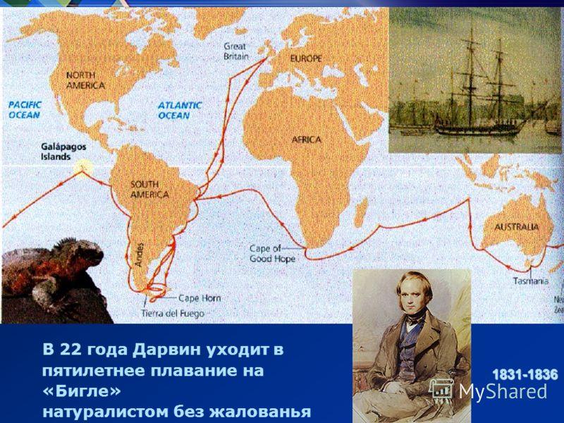 В 22 года Дарвин уходит в пятилетнее плавание на «Бигле» натуралистом без жалованья 1831-1836