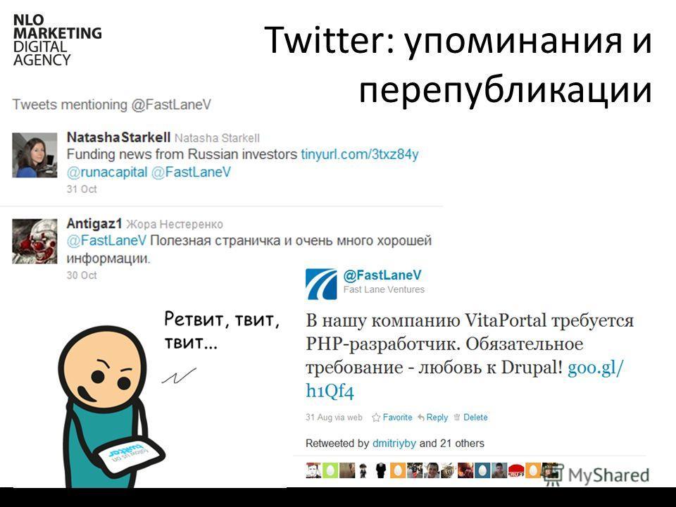 Twitter: упоминания и перепубликации