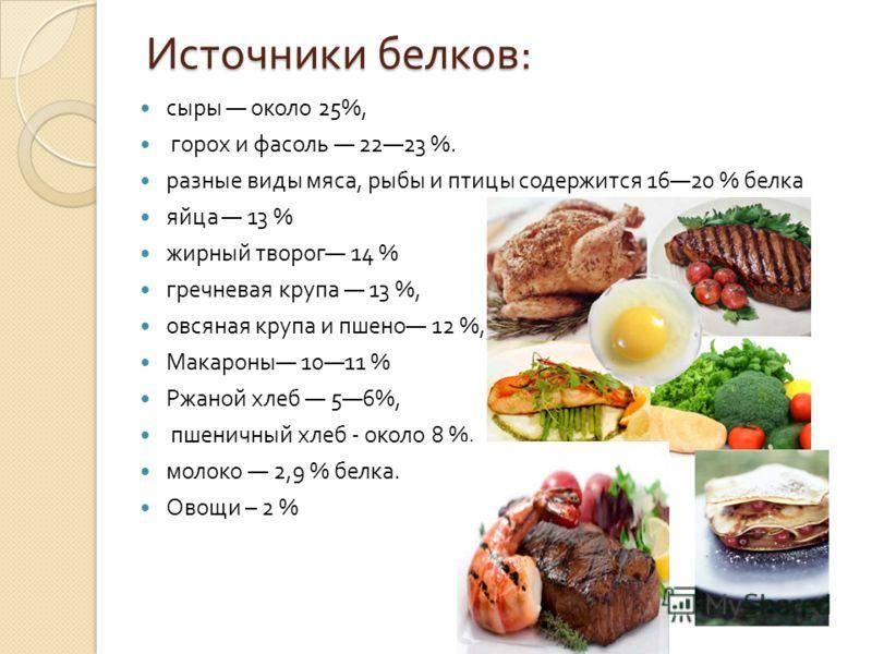 Источники белков : сыры около 25%, горох и фасоль 2223 %. разные виды мяса, рыбы и птицы содержится 1620 % белка яйца 13 % жирный творог 14 % гречневая крупа 13 %, овсяная крупа и пшено 12 %, Макароны 1011 % Ржаной хлеб 56%, пшеничный хлеб - около 8