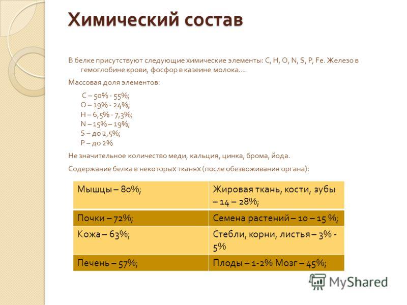 Химический состав В белке присутствуют следующие химические элементы : С, Н, О, N, S, P, Fe. Железо в гемоглобине крови, фосфор в казеине молока …. Массовая доля элементов : С – 50% - 55%; О – 19% - 24%; Н – 6,5% - 7,3%; N – 15% – 19%; S – до 2,5%; P
