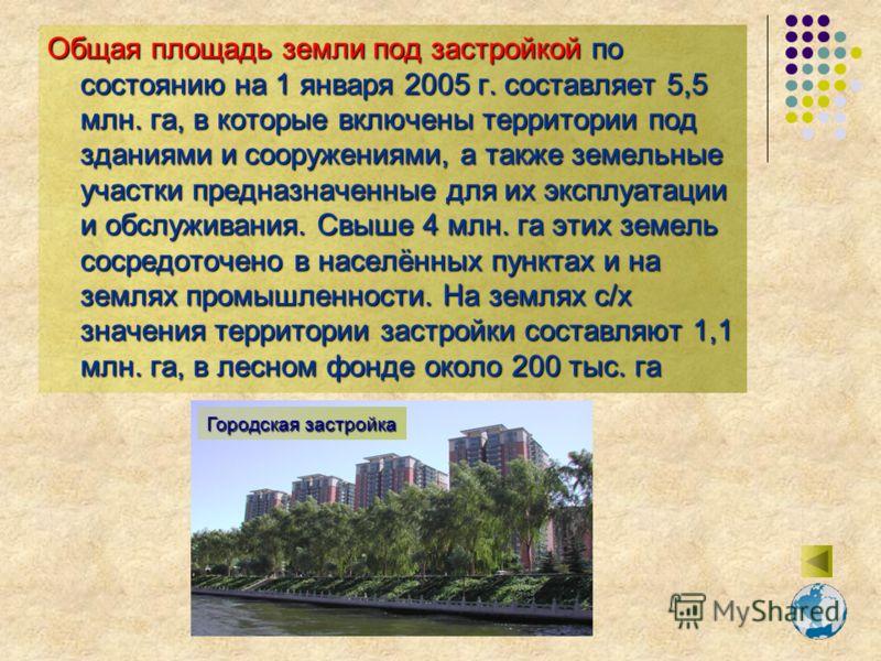 Общая площадь земли под застройкой по состоянию на 1 января 2005 г. составляет 5,5 млн. га, в которые включены территории под зданиями и сооружениями, а также земельные участки предназначенные для их эксплуатации и обслуживания. Свыше 4 млн. га этих