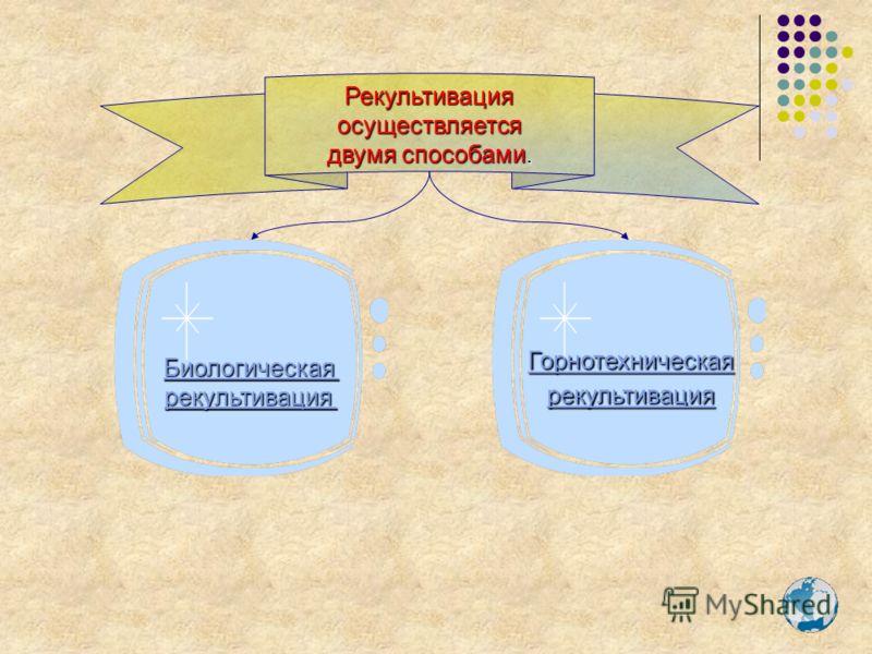 Горнотехническая рекультивация Рекультивация осуществляется двумя способами. Биологическая рекультивация