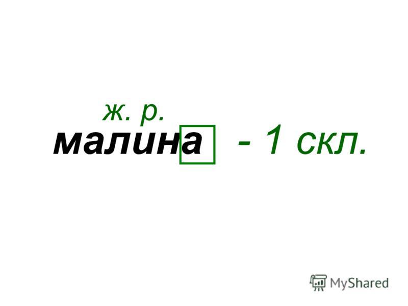 малина ж. р. - 1 скл.