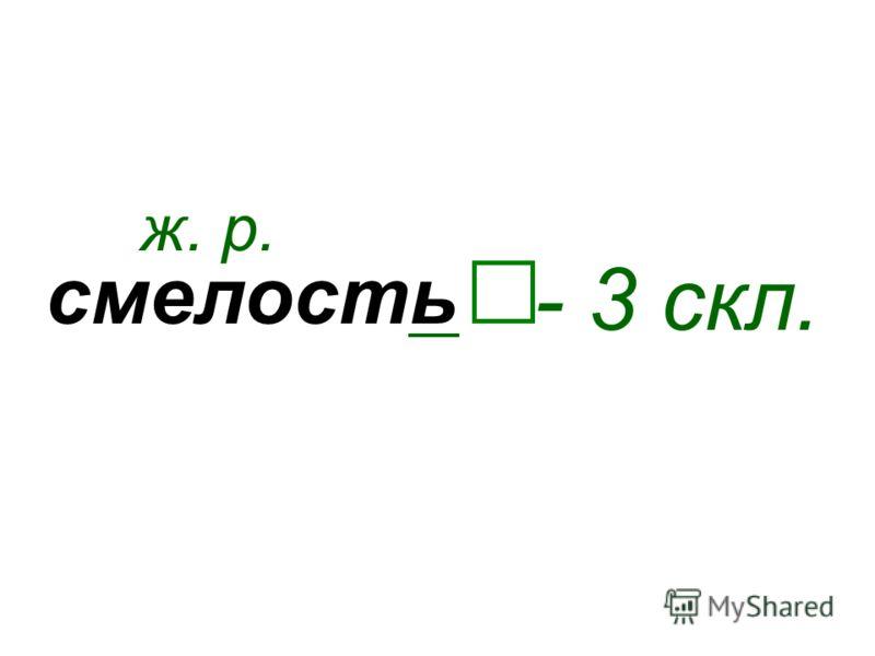 смелость ж. р. - 3 скл.