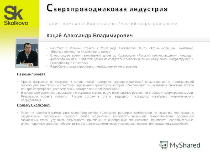 С верхпроводниковая индустрия проект компании Корпорация «Русский сверхпроводник» Работает в атомной отрасли с 2000 года. Возглавлял Центр «Атом-инновации», компанию «Водные технологии «Атомэнергопрома». В настоящее время генеральный директор Корпора