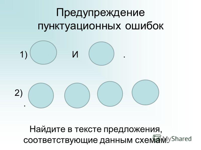 Предупреждение пунктуационных ошибок 1) И. 2),, и. Найдите в тексте предложения, соответствующие данным схемам.