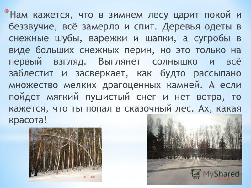 * Нам кажется, что в зимнем лесу царит покой и беззвучие, всё замерло и спит. Деревья одеты в снежные шубы, варежки и шапки, а сугробы в виде больших снежных перин, но это только на первый взгляд. Выглянет солнышко и всё заблестит и засверкает, как б