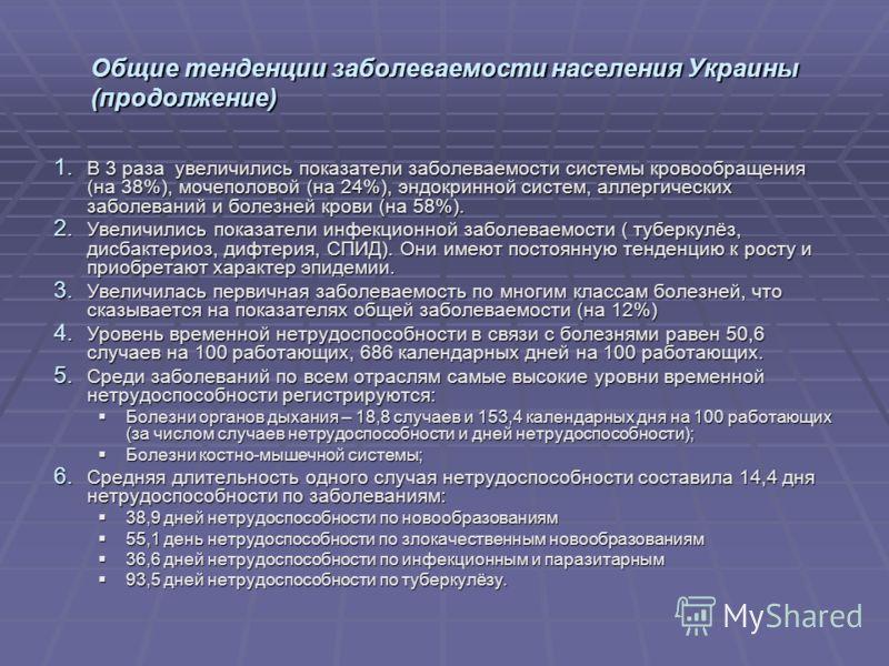 Общие тенденции заболеваемости населения Украины (продолжение) 1. В 3 раза увеличились показатели заболеваемости системы кровообращения (на 38%), мочеполовой (на 24%), эндокринной систем, аллергических заболеваний и болезней крови (на 58%). 2. Увелич