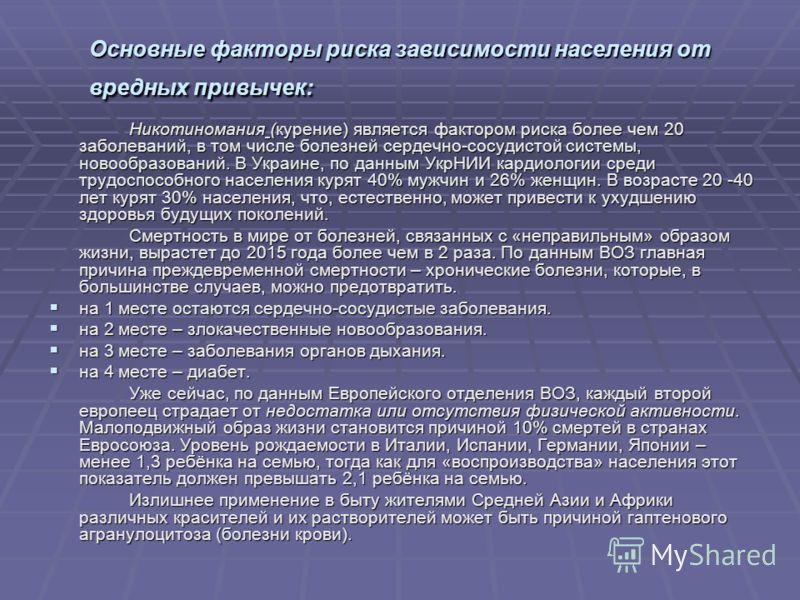 Основные факторы риска зависимости населения от вредных привычек: Никотиномания (курение) является фактором риска более чем 20 заболеваний, в том числе болезней сердечно-сосудистой системы, новообразований. В Украине, по данным УкрНИИ кардиологии сре