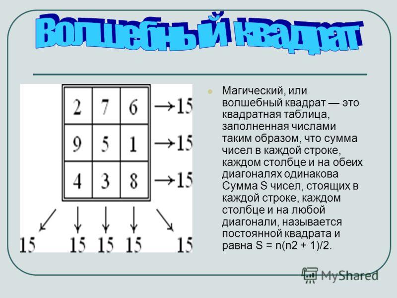 Магический, или волшебный квадрат это квадратная таблица, заполненная числами таким образом, что сумма чисел в каждой строке, каждом столбце и на обеих диагоналях одинакова Сумма S чисел, стоящих в каждой строке, каждом столбце и на любой диагонали,