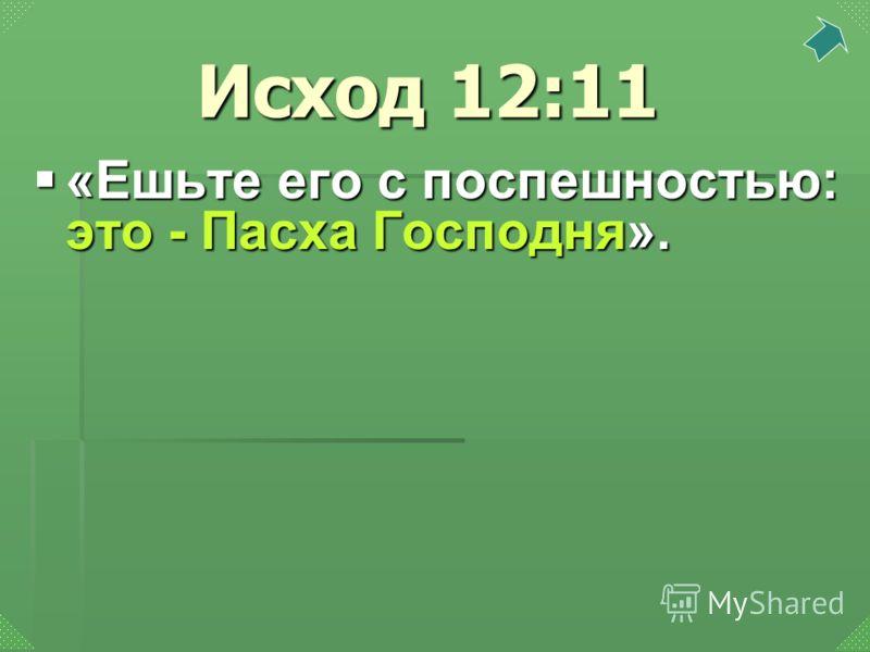 «Ешьте его с поспешностью: это - Пасха Господня». «Ешьте его с поспешностью: это - Пасха Господня». Исход 12:11